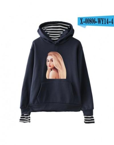 Ariana Grande print Fashion casual Fake 2 Pieces Hoodies Sweatshirt Streetwear Basic Hipster comfortable Popular kpop - navy...