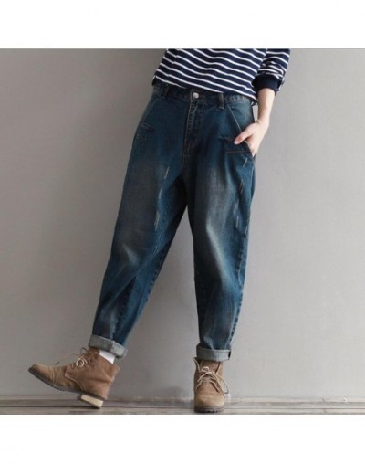 Loose Plus Size Vintage Autumn Boyfriend Denim Jeans Casual High Waist Good Quality Harem Pants Full Length Trousers - as ph...