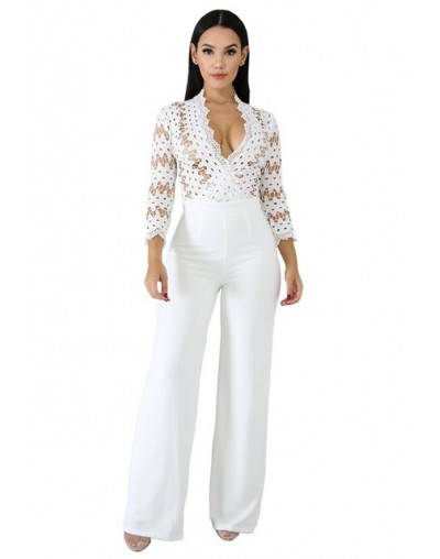 Casual Hollow Out Lace Jumpsuit Romper Women Wide Leg High Waist Long Playsuit 2019 Elegant Lady Solid Office Workwear - Whi...