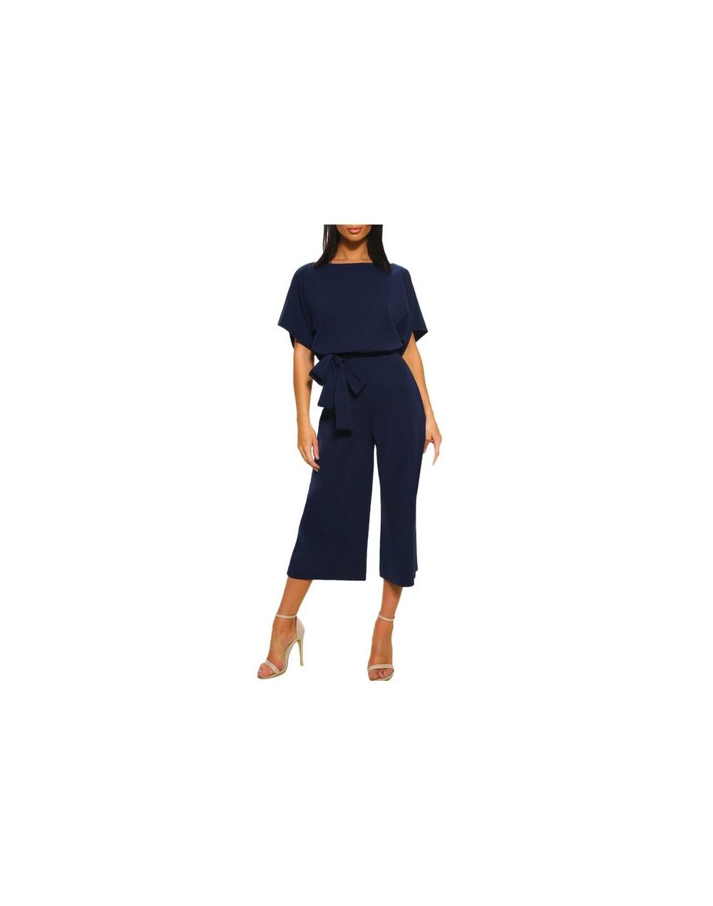 Women Short Sleeve Playsuit Clubwear Straight Leg Jumpsuit With Belt Fashion plus size Loose Summer Jumpsuits June 23 - Navy...