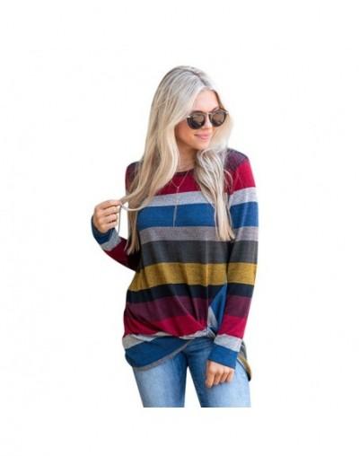 S-5XL Big Size Women Clothing Rainbow Striped Print Female T-shirt Fashion Women's T-shirts 2019 Autumn Winter Loose Casual ...