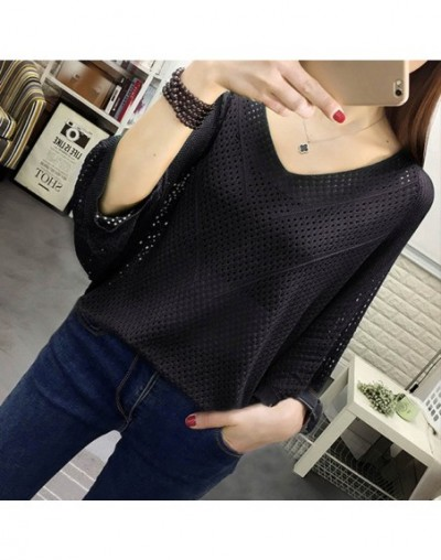 Sexy Women Knitted Pullover Mesh Hollow Sweater Female 2019 Spring Fashion Tops Bat Half Sleeve Solid Casual Loose Shirt Sum...