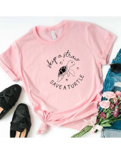 Skip A Straw Save A Turtle Graphic Women Tshirt Sea Protect Slogan T Shirt Grunge Crewneck T-shirt Cotton Summer Tees Drop S...