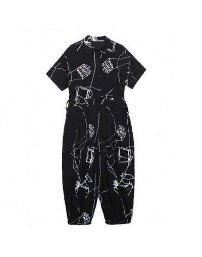 2019 New Autumn Winter High Waist Pocket Lapel Short Sleeve Pattern Printed Wide Leg Pants Women Jumpsuit Fashion JW277 - bl...
