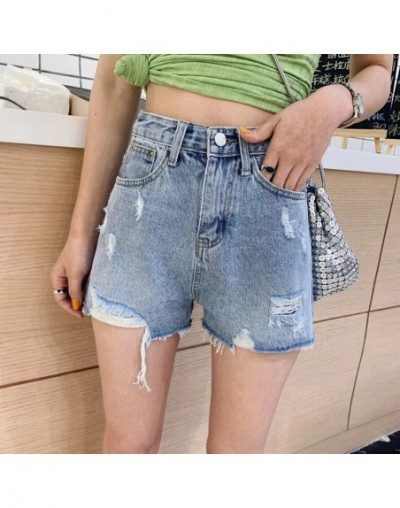 Light blue with holes cowboy shorts women's summer New style high-waisted sequin loose-fit slimming fur trim wide-leg Net re...