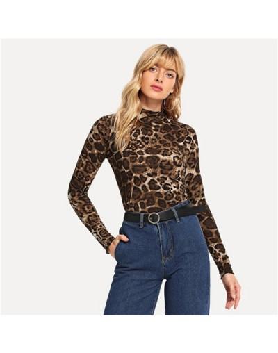 Brown Elegant Leopard Print Mock Tee Long Sleeve Stand Collar Stretchy Tops Women Autumn Modern Lady Slim Fit T-shirts - Bro...