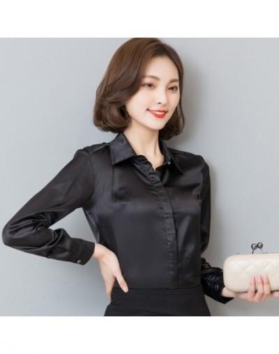 Women Simulate Silk Satin Shirt Long Sleeve Business Formal Shiny Blouse Tops Elegant Performance Wear Fashion - Black - 413...