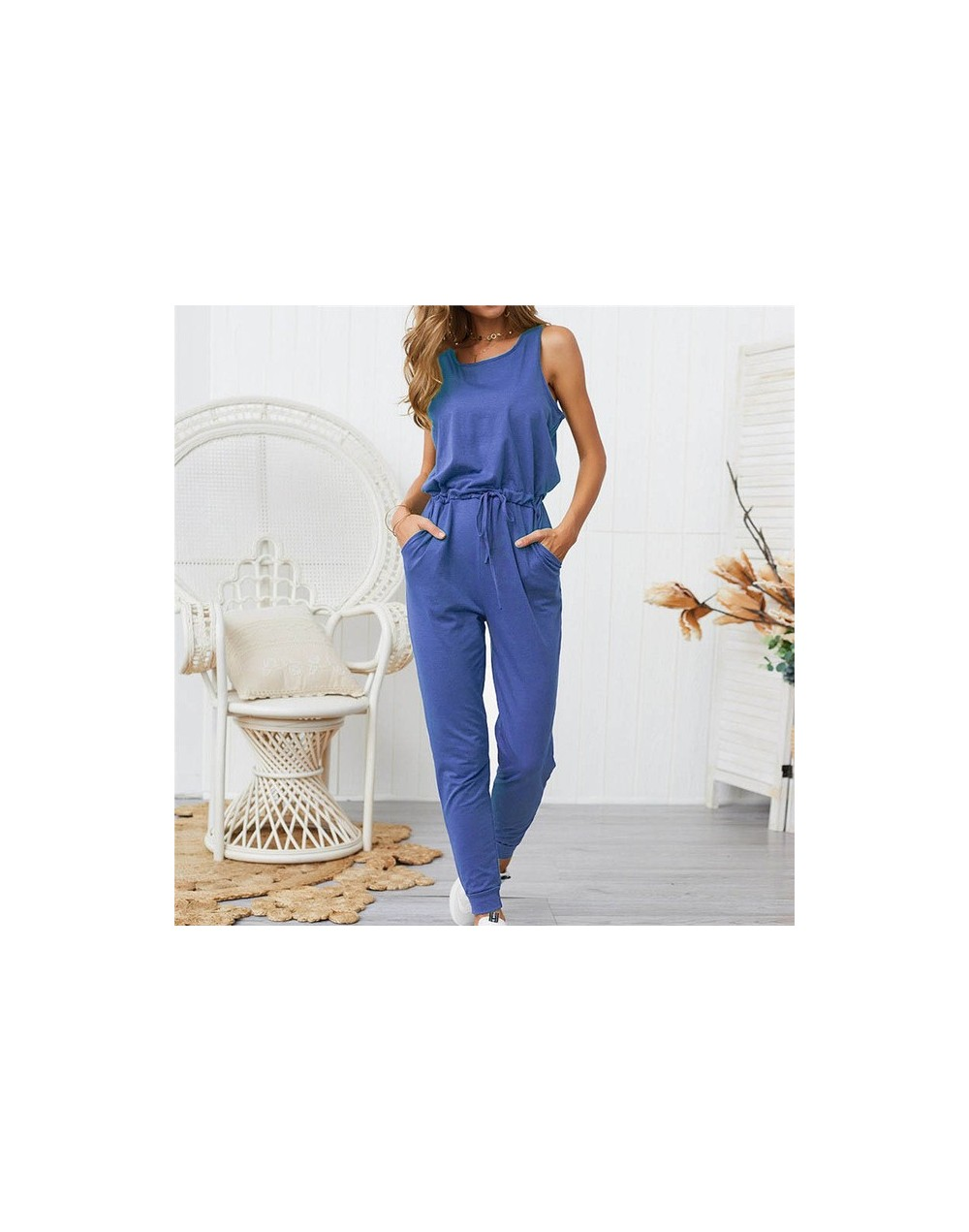 Sexy Simple Jumpsuits Suits Ankle-Length Pants Loose Solid Bodysuits 2019 Sleeveless Straps Cozy Breathable Jumpsuit - blue ...