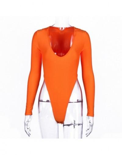 Sexy Bodycon Deep V Neck Neon Orange Bodysuit for Women Cute Female Rave Festival Hooded High Cut Long Sleeve Bodysuits - Or...