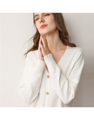 19 spring autumn long cardigan women's sweater knit jacket buttoned outside wearing female cardigans - white - 4Q3081730364-6