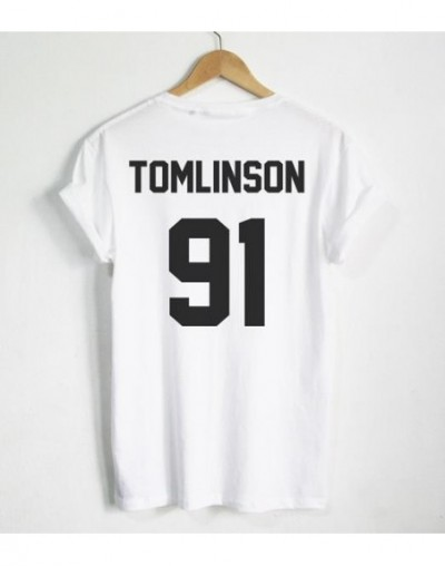 Louis Tomlinson 91 Back Letters Print Women T shirt Cotton Casual Funny Shirt For Lady Black Gray White Top Tee Hipster T-96...