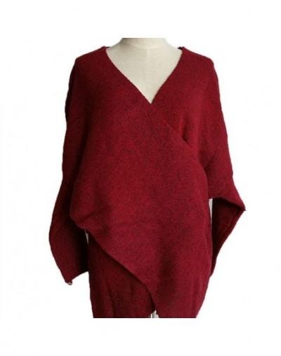 Womens Deep V-Neck Knit Sweater Long Batwing Sleeve Cross Front Wrap Pullover Tops Asymmetric Irregular Hem Winter Loose Jum...
