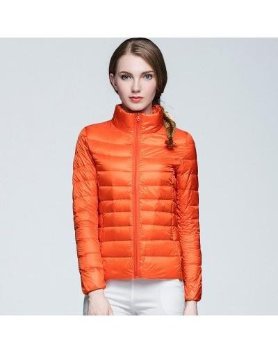 Winter Thin Parkas Women Coat Women Outerwear 90% White Duck Down Stand Collar Warm Pockets Zipper Pockets Clothes Coat - Or...