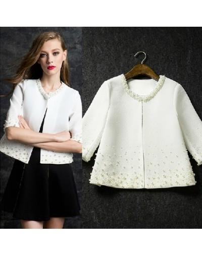 Elegant pearls beading white jacket women 2019 spring new arrivals 2colors plus size - White - 463015823074-2