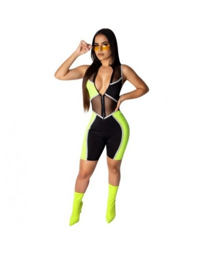 Color Patchwork Sheer Mesh Jumpsuit Front Zipper V Neck Sleeveless Slim Playsuits Women Sexy Night Club Romper Overalls - gr...