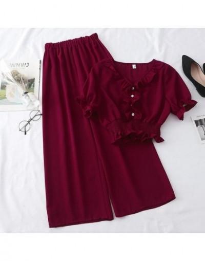Women Chiffon Two Piece Set Summer V Neck Ruffles Short Sleeve Tunic Waist Crop Tops + High Waist Wide Leg Pants Suits - 1 -...