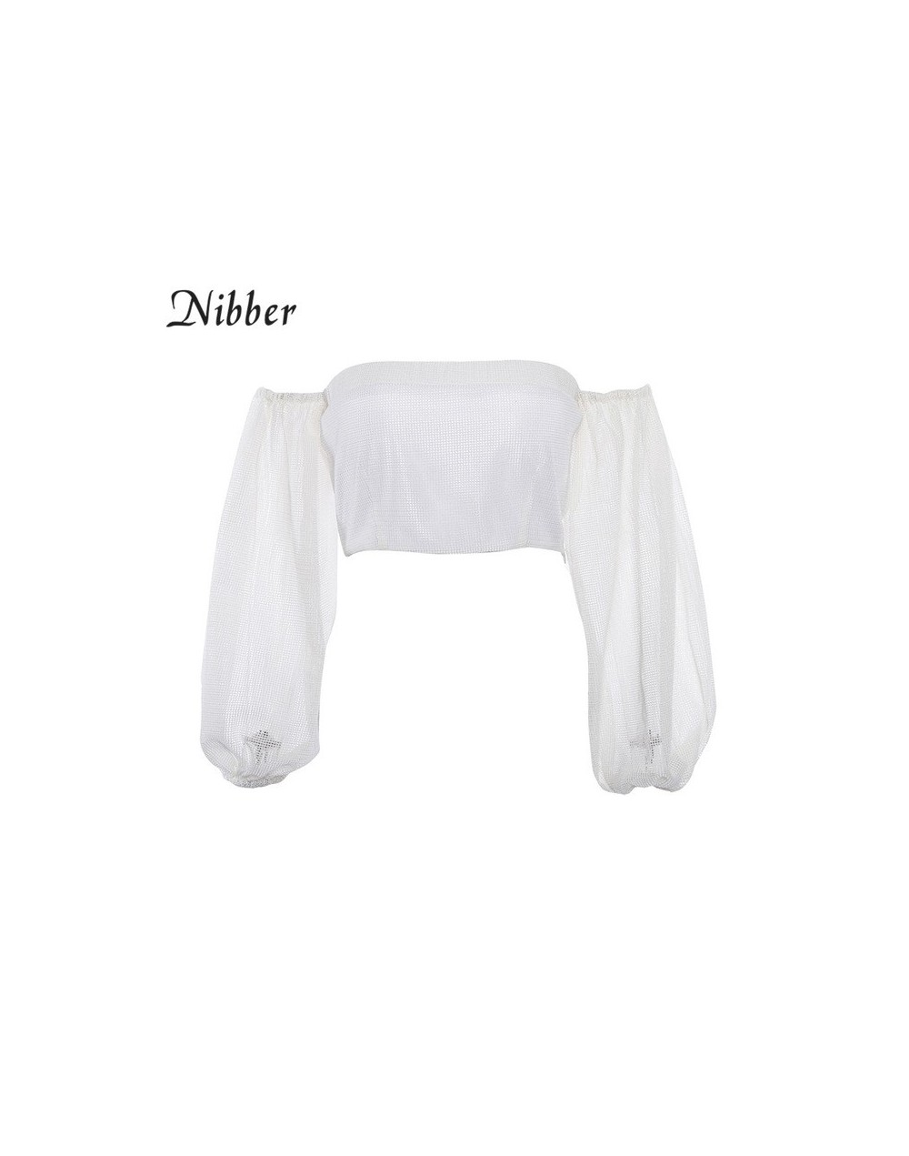 2018 New Fashion White Women T-ShirtSexy Off Shoulder Crop Tops Summer fluffy Sleeve Casual Loose Tops Sexy Street Wear - Wh...