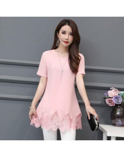 Long Tunic Tops 5XL 4XL 3XL Plus Size Woman Short Sleeve Patchwork Faux Two Piece Hollow Out Crochet Lace Top Blouse Shirts ...