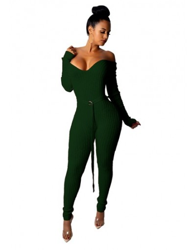 Solid Off Shoulder Ribbed Jumpsuit with Belt Women Sexy V Neck Long Sleeve Romper Night Club Overalls Knitting Jumper - gree...
