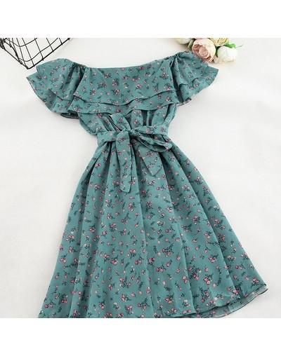 Women Floral Dress bohemian A-Line slash neck short sleeves dress summer vintage beach off shoulder Polka Dot Sundress - blu...