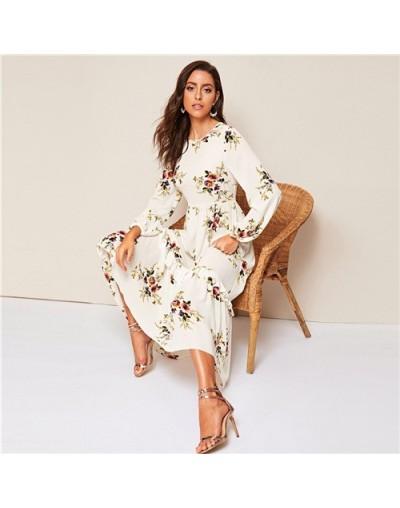 White Floral Ruffle Hem Fit and Flare Long High Waist Dress Women Spring Autumn Bishop Long Sleeve Boho Elegant Dresses - Wh...