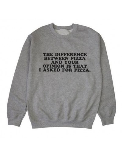 The Difference Between Pizza Sweatshirt Hipster Tumblr Cotton Jumper Pizza Graphic Outfits Casual Aesthetic Clothing Crewnec...