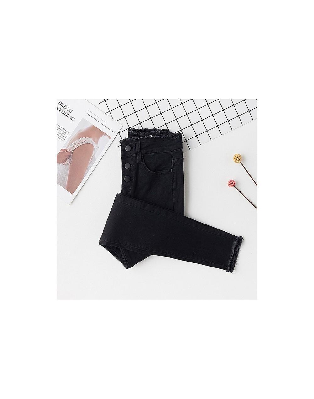 Streetwear High Waist Ripped Skinny Jeans Woman Plus Size Gray Black Stretch Mom jeans Ladies women jeans pants jeans femme ...