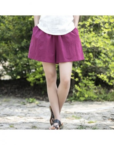 2019 Summer New Women's Shorts Cotton Linen Solid Loose Plus Casual More Color Soft Women's Shorts - Wine red - 443911207962-5