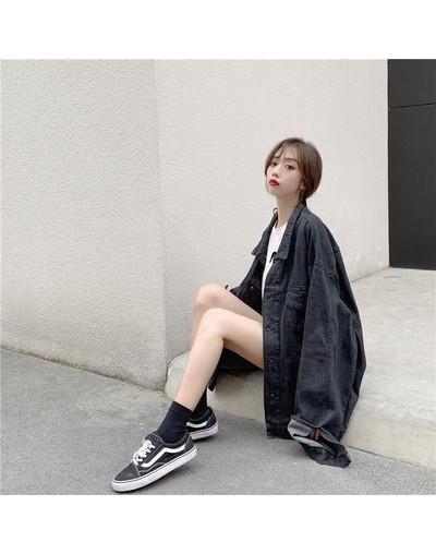 Women Spring And Autumn Fashion Brand Korea Style Vintage Denim Oversize Jacket Female Casual Loose Blue Black Jacket Coat C...