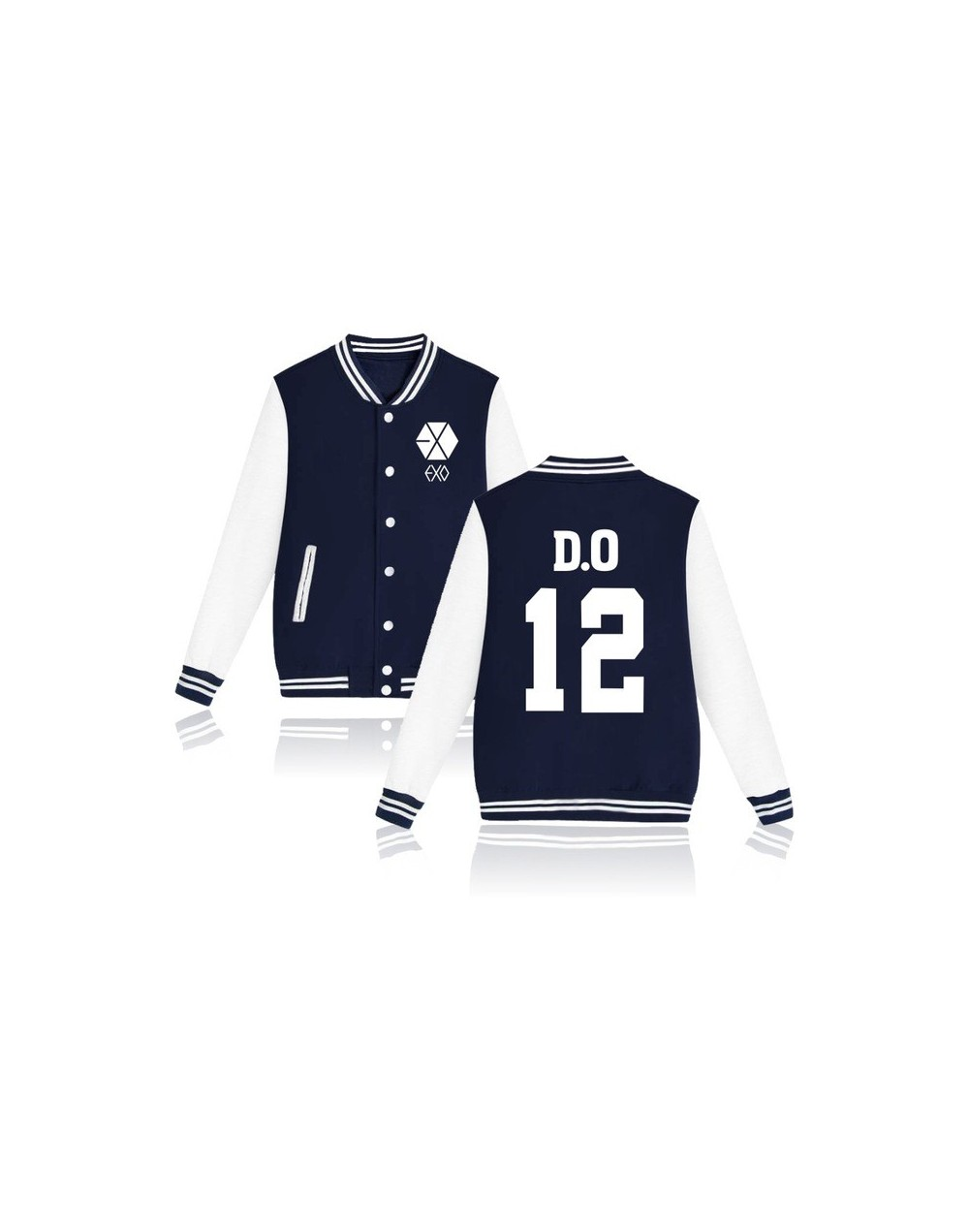 2017 EXO Kpop jaquetas feminino casaco Printed Hoodies bomber jacket baseball jacket Men/Women Tracksuit Jacket - DO 12 Navy...