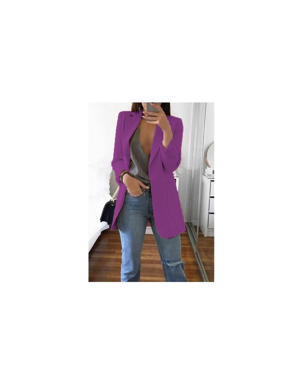 New Women Suit Solid Casual Notched Collar Female Office Suit Autumn 2019 High Quality Coat Tops - Purple - 5711118645267...