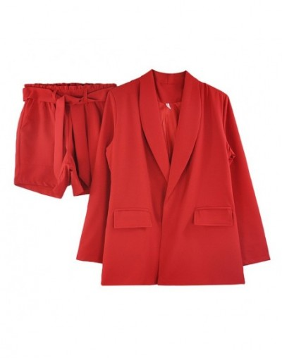 Spring summer Women two piece set Blazer Jacket + shorts Female Office Lady Suit Women's 2 Piece Set - Red - 423094277659-1