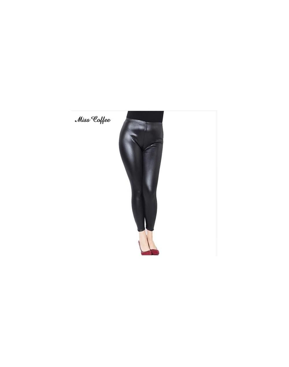 2018 Women High Elastic Thin Faux Leather Leggings Large Size Xl-5XL Imitation Leather Pants Skinny Shiny Black Plus Legging...