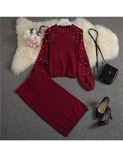 2019 New Women Sweater Skirt Suits Loose Pullover Pearl Jumper + Knee Length Knit Skirts Women Stylish Winter Set - Khaki - ...