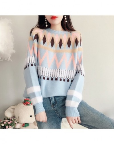 New Fashion 2019 Women Autumn Winter Embroidery Flower Cashmere Sweater Pullovers Warm Knitted Sweaters Pullover Lady - Sky ...