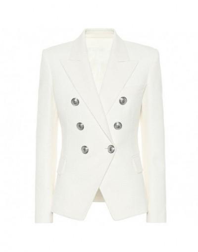 HIGH STREET 2019 Classic Designer Blazer Women's Double Breasted Metal Lion Silver Buttons Blazer Jacket - White - 4J4139465...