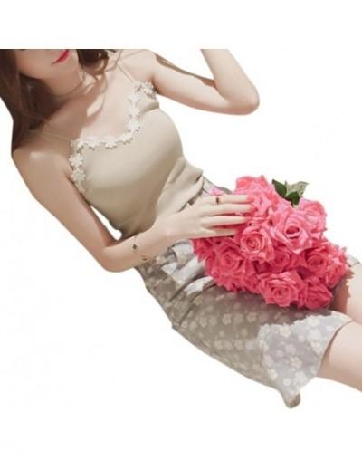 Women Crochet Knit Vest Spaghetti Strap Cotton Camisole Stretch Tank Tops Floral - Khaki - 423969210182-4