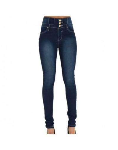 2019 Autumn Winter Women Brand Skinny Denim Pencil Pants High Waist Slim Button Pockets Pants Stretch Jeans Women Jeans - A ...
