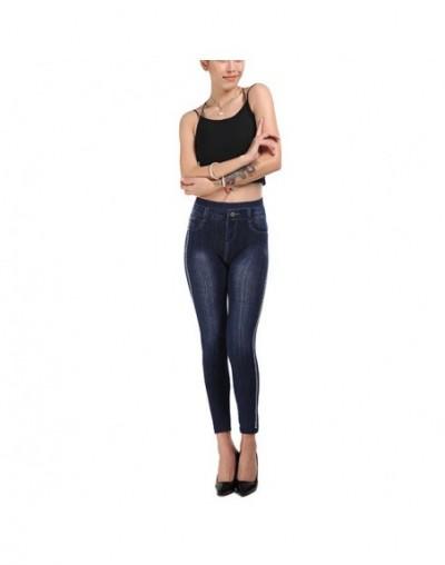 Knitted Women Streetwear Seamless Jeans Leggings Fashion Side Dot High Waist Pencil Pants Stretch Push Up Ladies Legins - Bl...