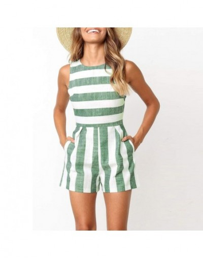 2019 fashion summer Multicolor stripes women's loose jumpsuit beach style O-neck sleeveless regular Rompers - Green - 330135...