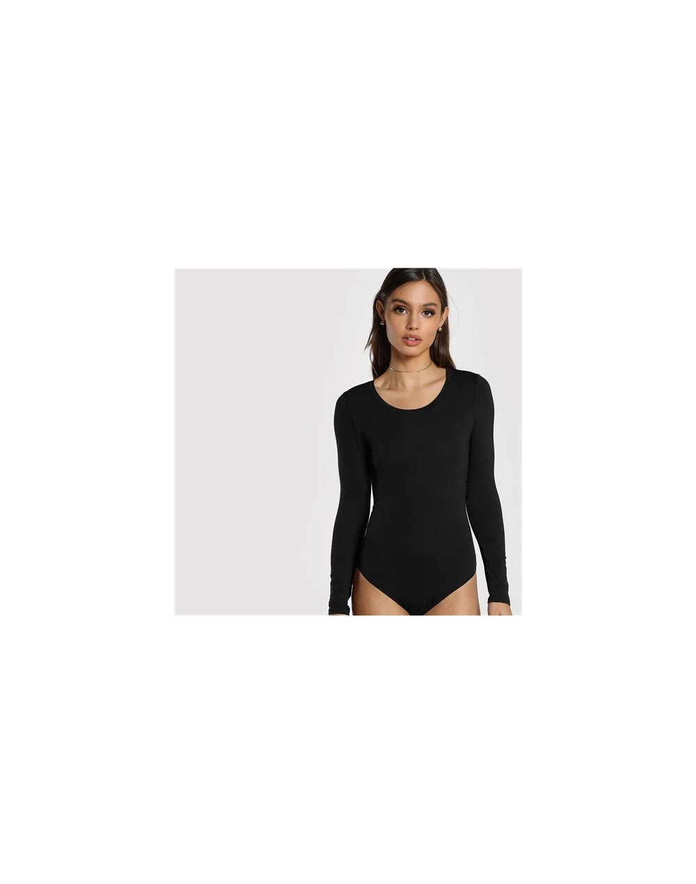 Black Office Lady Casual Scoop Neck Long Sleeve Mid Waist Skinny Solid Bodysuit 2018 Autumn Workwear Women Bodysuits - Black...