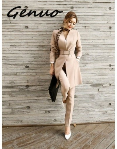 New 2019 Business Ladies women two piece outfits Formal OL style Elegant Skinny Long Blazer Pants Two Pieces Sets - Khaki - ...