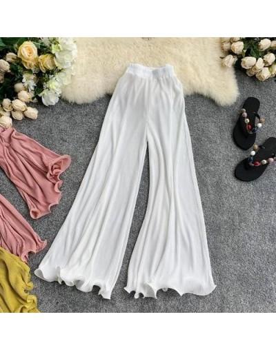 Spring Autumn Korean Solid Stretch Women Trousers Elastic High Waist Casual Loose Ruffles Wide Leg Flare Pants - White - 4N4...