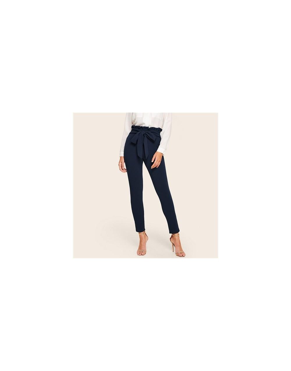 Navy Elegant Trousers Women Paperbag Waist Skinny Pants 2019 Spring Solid OL Work High Waist Womens Pants With Belt - Navy -...