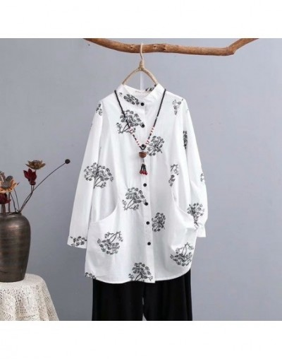 Plus size cotton Embroidery stand collar women blouse 2019 Spring NEW casual ladies shirts pockets female solid black and wh...