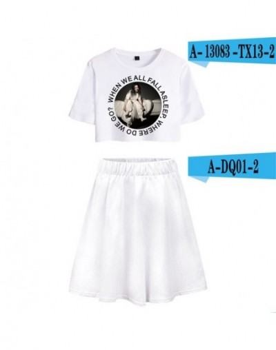 Billie Eilish Summer pop Women Two Pieces Sets Sexy Short Skirt And T-shirts Clothes 2019 Hot Sale Kpops Sets XXL - Silver -...