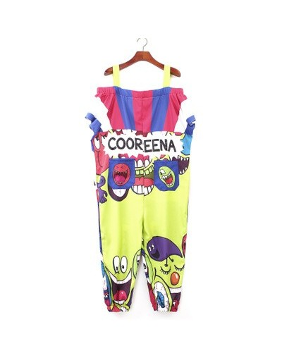 2018 New Off The Shoulder Strap Women Jumpsuits Rompers Graffiti Printed Hip Hop Dance Pants Trousers Loose Cartoon Rompers ...