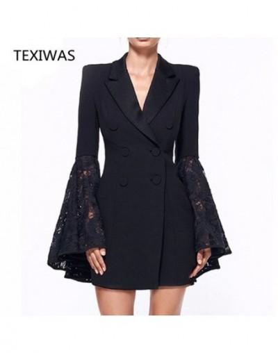 2018 Fashion long blazer suit dress Women Business Party suit Dress Lace Ruffle sleeve Work Dress Suits Slim Plus Size - Bla...