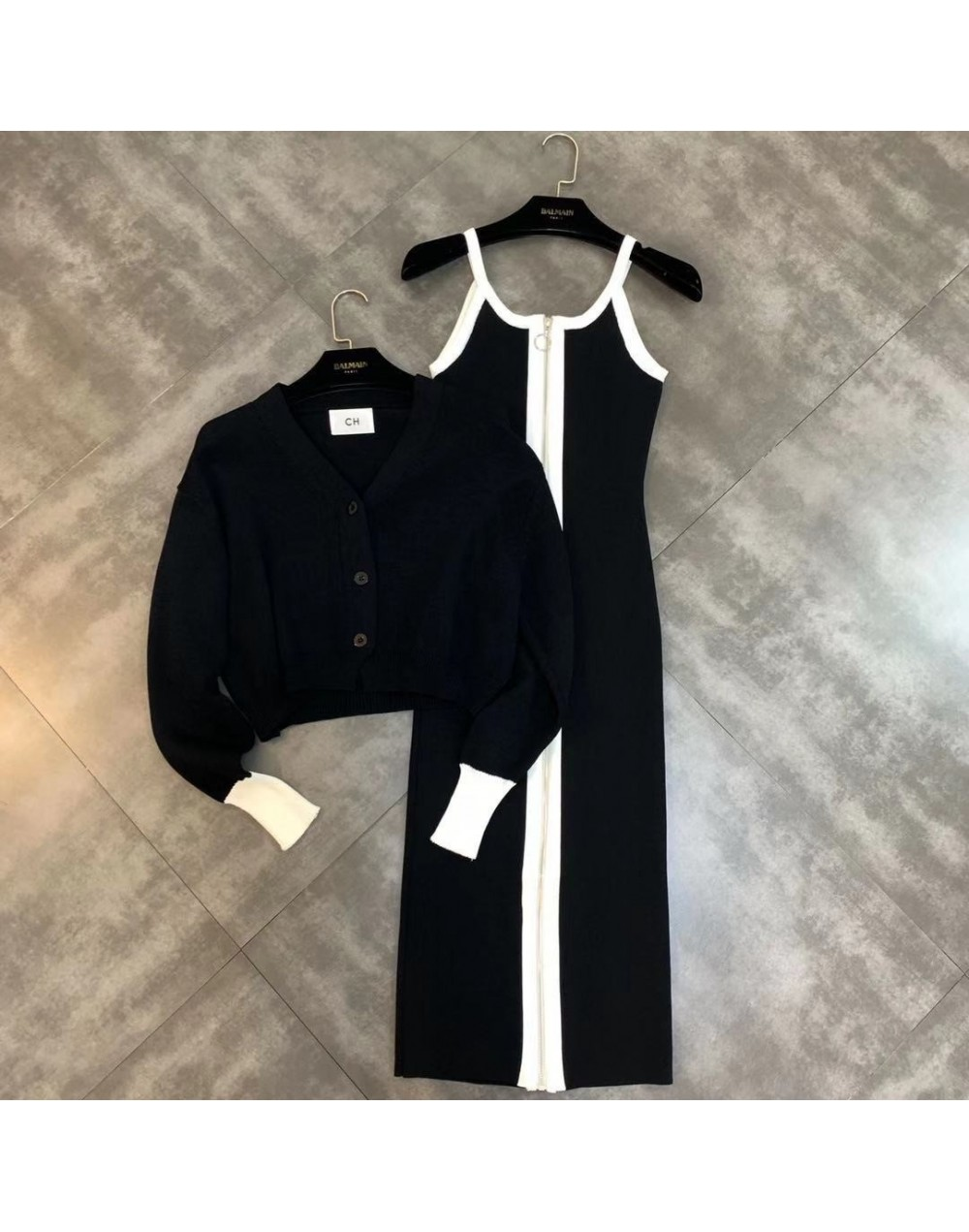 2019 autumn new color matching zip dress + knit jacket was thin two-piece suit - Black - 5V111229262156-2