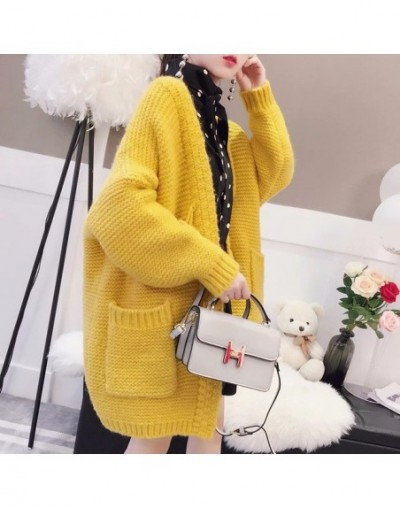 2018 New Spring Autumn New Long Sweater Coat Korean Loose Large Size Red Horns Button Thick Knitted Cardigan Jackets A395 - ...